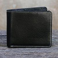 Men's leather wallet, 'Forever in Black' - Thai Fair Trade Genuine Leather Wallet for Men in Black