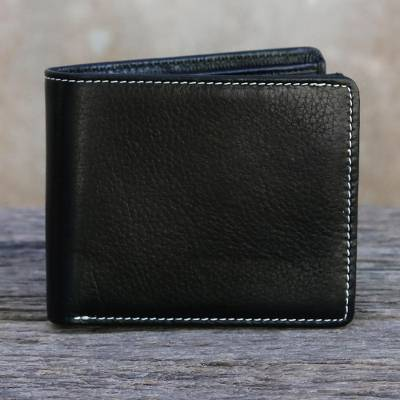 Men's leather wallet, 'Forever in Black' - Thai Fair Trade Genuine Leather Wallet for Men in Black