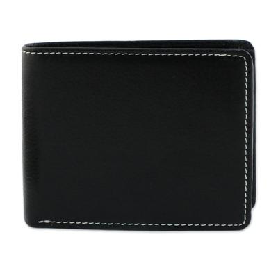 Thai Fair Trade Genuine Leather Wallet for Men in Black