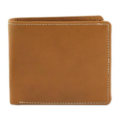 Fair Trade Genuine Leather Wallet for Men in Medium Brown