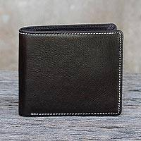 Men's leather wallet, 'Classic in Dark Brown' - Fair Trade Men's Classic Bifold Leather Wallet in Dark Brown