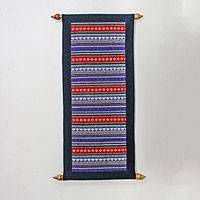 Cotton wall hanging, 'Hill Tribe Charm' - All Cotton Wall Hanging with Woven Hill Tribe Motifs