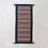 Cotton wall hanging, 'Naga Charm' - Zigzag Motif Cotton Wall Hanging Made in Thailand
