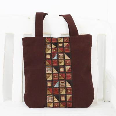 Cotton tote bag, 'Native Geometry' - Geometric Motif Brown Cotton Tote Handbag from Thailand