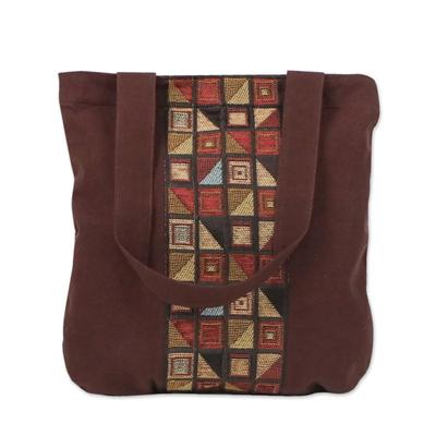 Geometric Motif Brown Cotton Tote Handbag from Thailand