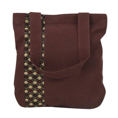 Deep Brown Cotton Tote Bag with Scalloped Detail