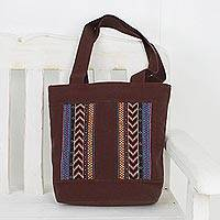 Cotton tote bag, 'Naga Style' - Naga Style Embroidered All Cotton Tote Bag