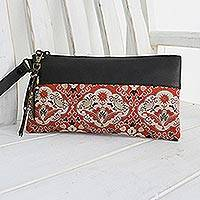 Leather accent silk wristlet, 'Chiang Mai Bouquet'