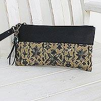 Leather accent silk wristlet,