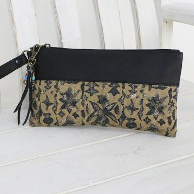 Leather accent silk wristlet, Casually Exotic