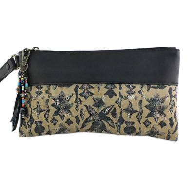 Leather Accent Silk Wristlet in Beige from Thailand