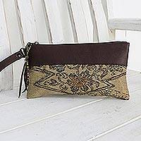 Leather accent silk wristlet, 'Flower of Chiang Mai' - Leather Accent Silk Floral Wristlet in Beige from Thailand