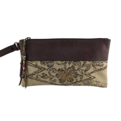 Leather Accent Silk Floral Wristlet in Beige from Thailand