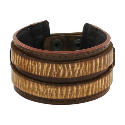 Men's leather wristband bracelet, 'Genuine Charm' - Handcrafted Men's Leather Wristband Bracelet from Thailand