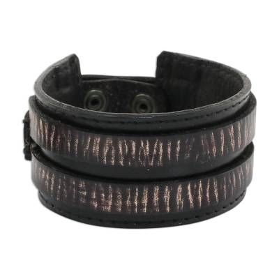 Men's leather wristband bracelet, 'Genuine Charm in Black' - Men's Leather Wristband Bracelet in Black from Thailand