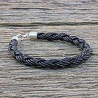 Men's leather bracelet, 'Sophisticated Braid in Black' - Men's Leather Braided Bracelet in Black from Thailand