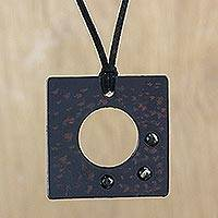 Agate pendant necklace, 'Lucky Square in Blue' - Agate and Leather Pendant Necklace in Blue from Thailand