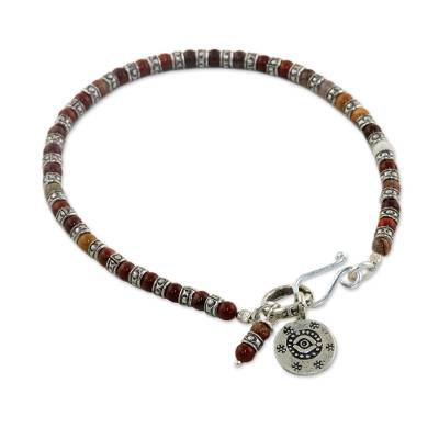 Agate beaded bracelet, 'Karen Eye' - Karen Silver and Agate Beaded Bracelet from Thaliand