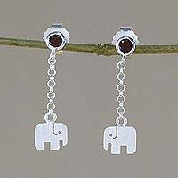 Garnet dangle earrings, 'Elephant Swing' - Garnet and Sterling Silver Elephant Earrings from Thailand