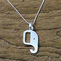 Sterling silver pendant necklace, 'Elephant Profile' - 925 Sterling Silver Elephant Necklace from Thailand