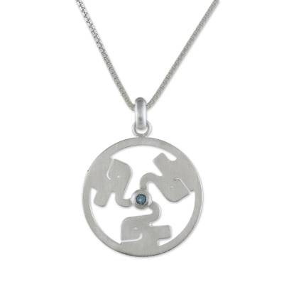 Blue Topaz and 925 Silver Elephant Necklace from Thailand