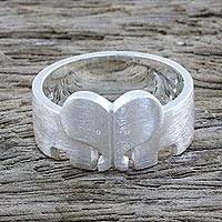 Sterling silver band ring, 'Elephant Bond' - Sterling Silver Elephant Heart Band Ring from Thailand