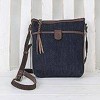 Leather accent cotton sling, 'Navy Denim' - Leather Accent Cotton Denim Sling in Navy from Thailand