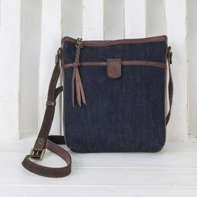 Leather accent denim sling, 'Navy Denim' - Leather Accent Cotton Denim Sling in Navy from Thailand