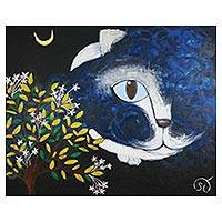 'Night Owl Cat' (2009) - Original Signed Tuxedo Cat Painting from Thailand