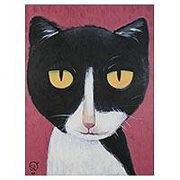 'Bat Man Cat' - Signed Naif Painting of a Cat from Thailand