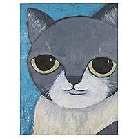 'Grey Cat' - Signed Naif Painting of a Grey and White Cat from Thailand