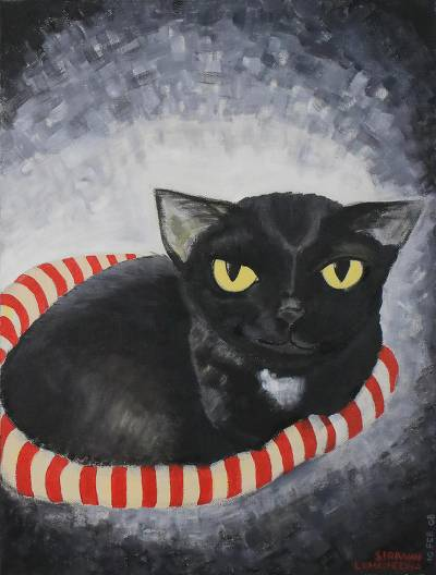 'Smiling Black Cat' - Signed Naif Painting of a Black Cat from Thailand