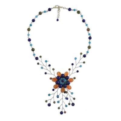 Multi Gemstone Floral Beaded Statement Necklace