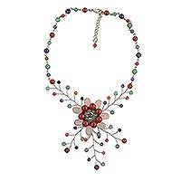 Multi-gemstone beaded statement necklace, 'Exotic Flower' - Multi Gemstone Floral Beaded Statement Necklace