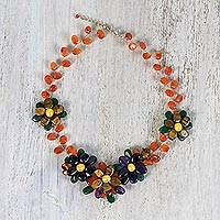 Multi-gemstone beaded necklace, 'Autumn Radiance' - Handcrafted Multi Gemstone Floral Beaded Necklace