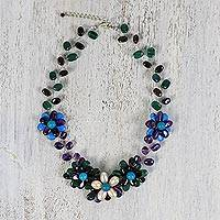 Multi-gemstone beaded necklace, 'Twilight Radiance' - Handcrafted Multi Gemstone Beaded Necklace from Thailand