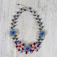 Multi-gemstone beaded necklace, 'Colorful Radiance' - Multi Gemstone Floral Beaded Necklace from Thailand