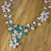Multi-gemstone beaded necklace, 'Sweet Garden' - Multi Gemstone Floral Beaded Necklace from Thailand