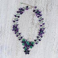 Amethyst and quartz beaded necklace, 'Sweet Garden' - Amethyst and Dyed Quartz Floral Thai Beaded Necklace