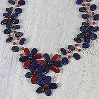 Lapis lazuli and quartz statement necklace, 'Forever Lovely' - Adjustable Floral Statement Necklace from Thailand
