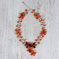 Carnelian and quartz beaded necklace, 'Sweet Garden' - Carnelian and Quartz Beaded Necklace from Thailand
