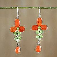 Carnelian and peridot dangle earrings, 'Succulent Vines' - Carnelian and Peridot Floral Dangle Earrings from Thailand