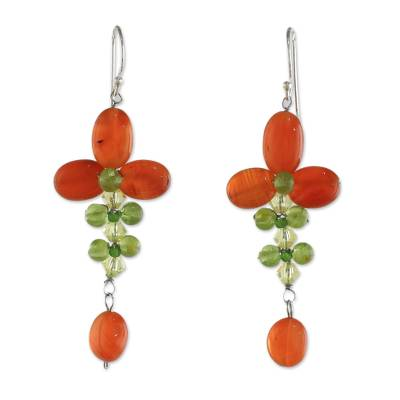 Carnelian and Peridot Floral Dangle Earrings from Thailand