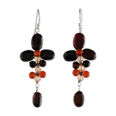 Garnet and Carnelian Dangle Earrings from Thailand