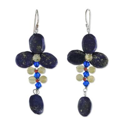 Lapis Lazuli and Citrine Dangle Earrings from Thailand