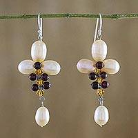 Cultured pearl and garnet dangle earrings, 'Succulent Vines' - Cultured Pearl and Garnet Dangle Earrings from Thailand