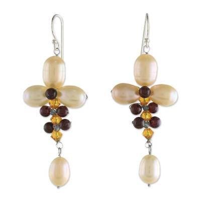 Cultured Pearl and Garnet Dangle Earrings from Thailand