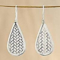 Sterling silver dangle earrings, 'Raindrop Weave' - Sterling Silver Drop-Shaped Weave Earrings from Thailand