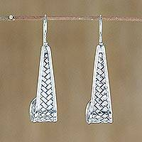 Sterling silver dangle earrings, 'Curling Weave' - Sterling Silver Weave Motif Dangle Earrings from Thailand