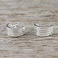 Sterling silver half-hoop earrings, 'Shimmering Stripes' - Sterling Silver Striped Half-Hoop Earrings from Thailand
